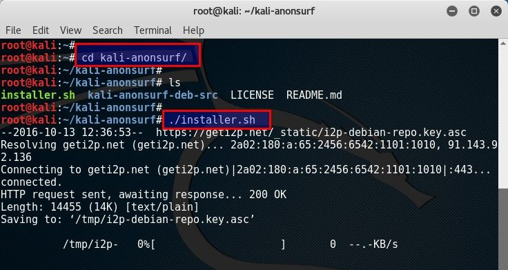 Browse anonymously with Anonsurf in Kali Linux - blackMORE Ops -2